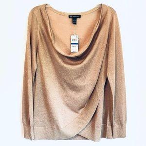 INC Draped Crossover Sweater Gold Metallic XL